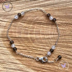 Rose Quartz & Smokey Quartz Silver Chain Bracelet